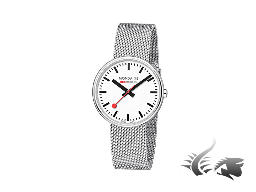 Mondaine SBB Mini Giant Quartz watch, White, Mesh strap, 35mm, A763.30362.11SBM