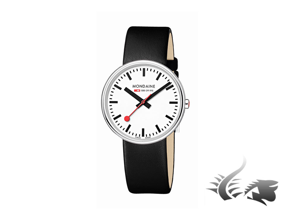 Mondaine SBB Mini Giant Quartz watch, White, Leather, 35mm, A763.30362.11SBB