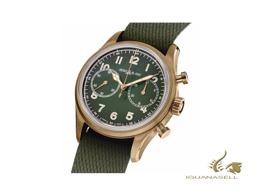 Montblanc 1858 Automatic Chronograph Watch, Bronze, Green, 42 mm, Nato, 119908 Montblanc Automatic Watch