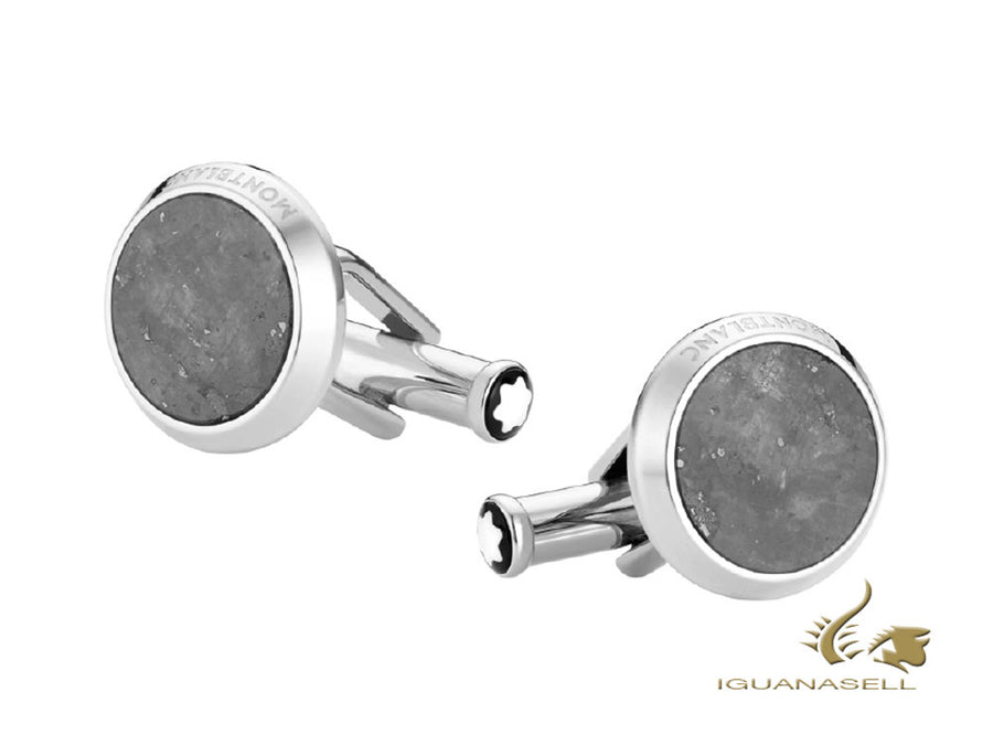 Montblanc Iconic Cufflinks, Stainless steel, Granite, Polished, 118609 Montblanc Cufflinks