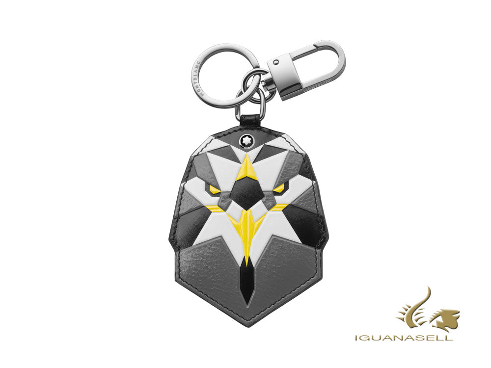 Montblanc Meisterstück Soft Grain Golden Eagle Key Ring, Leather, Grey, 118745