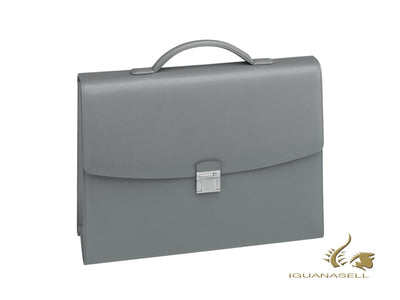 Montblanc Sartorial Briefcase, Leather, Jacquard, Grey, With button, 113179 Montblanc Briefcase