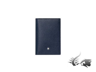 Montblanc Sartorial Credit card holder, Leather, Jacquard, Blue, 3 Cards, 113225