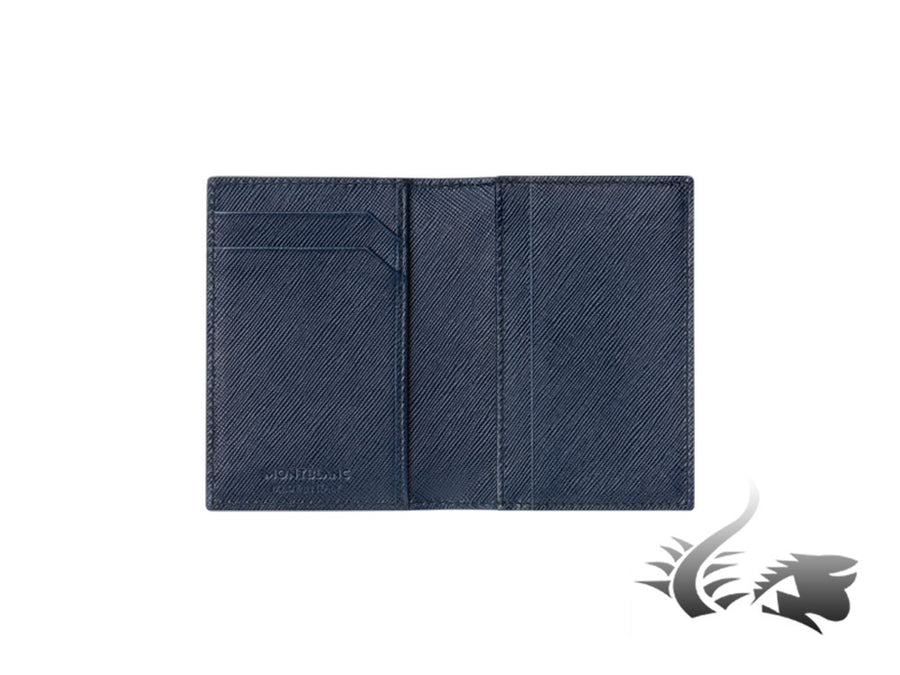 Montblanc Sartorial Credit card holder, Leather, Jacquard, Blue, 3 Cards, 113225 Montblanc Credit card holder