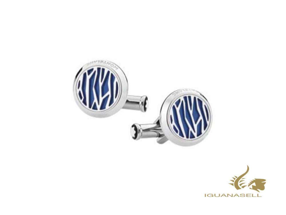 Montblanc Sartorial Cufflinks, Stainless steel, Polished, Blue, 126100