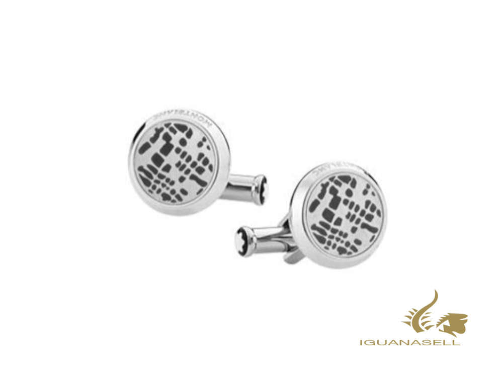 Montblanc Sartorial Dot pattern Cufflinks, Stainless steel, Polished, 126101