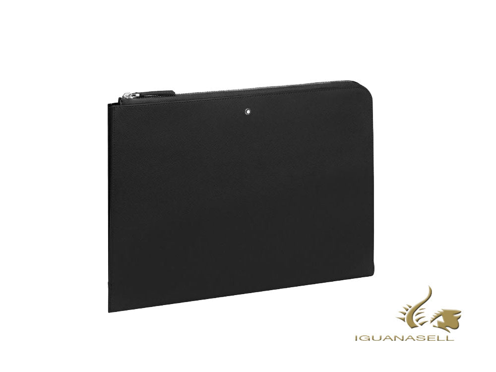 Montblanc Sartorial Document case, Leather, Jacquard, Black, Zip, 124180