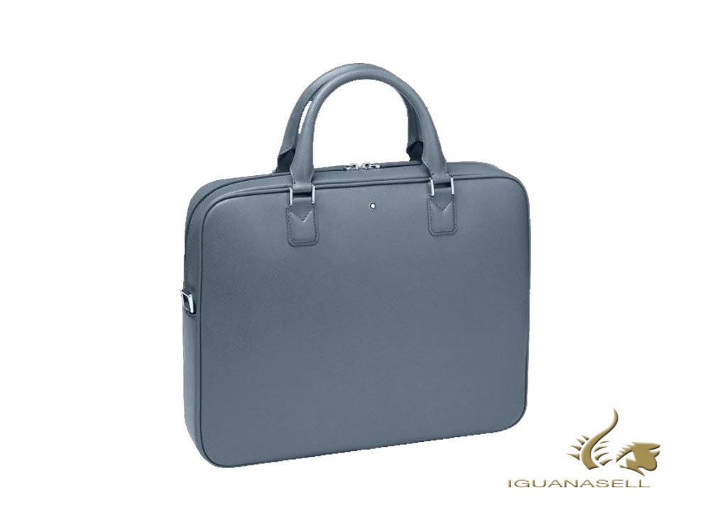 Montblanc Sartorial Document case, Leather, Jacquard, Denim blue, Zip, 124178