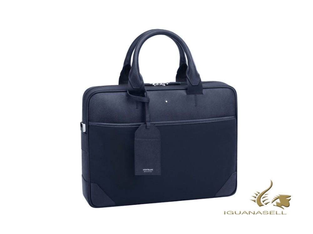Montblanc Sartorial Jet Document case, Leather, Jacquard, Blue, Zip, 118373