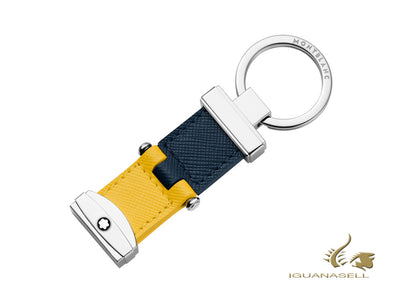Montblanc Sartorial Key Ring, Yellow & Blue, Brass, Leather, 1 Ring, 118698