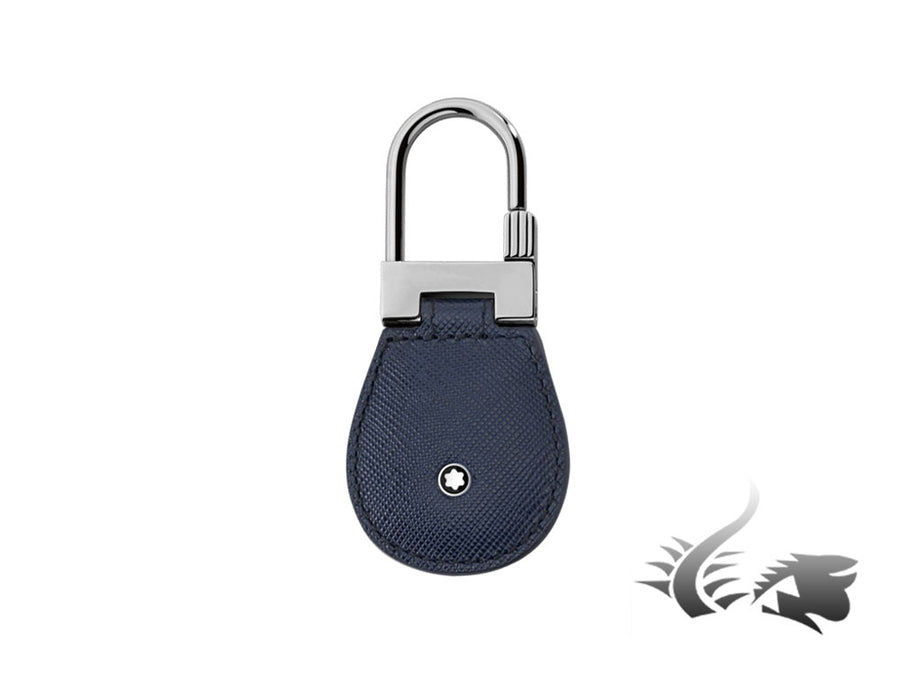 Montblanc Sartorial Key ring, Brass, Leather, Blue, 1 Ring, 113240 Montblanc Key ring