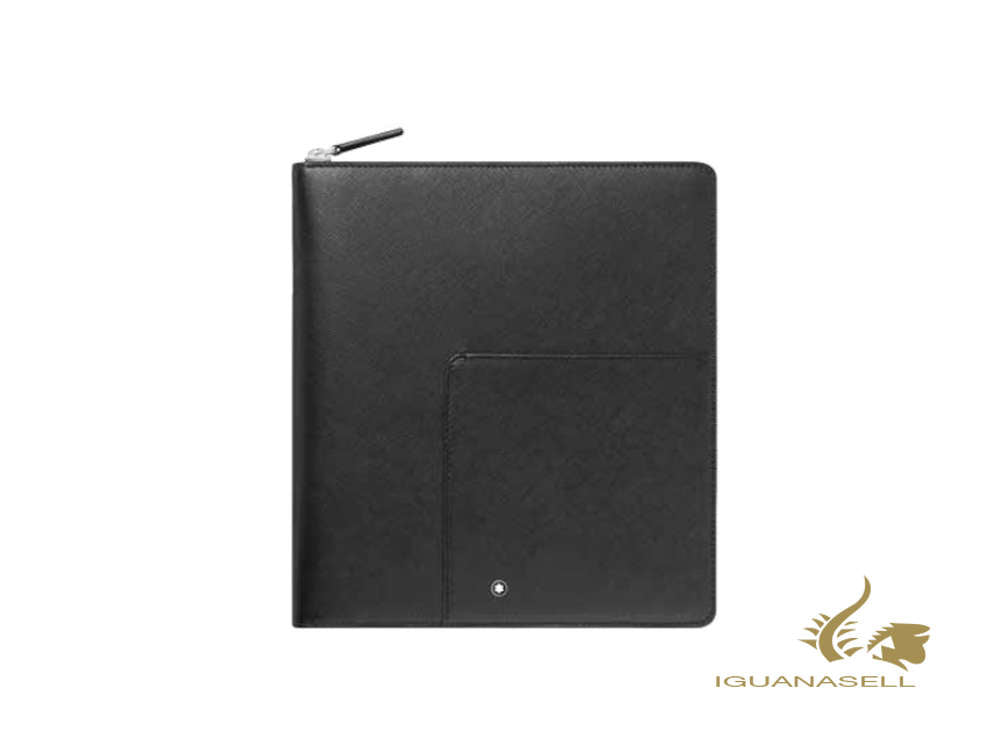 Montblanc Sartorial Notebook Holder, Leather, Jacquard, Black, Zip, 126268