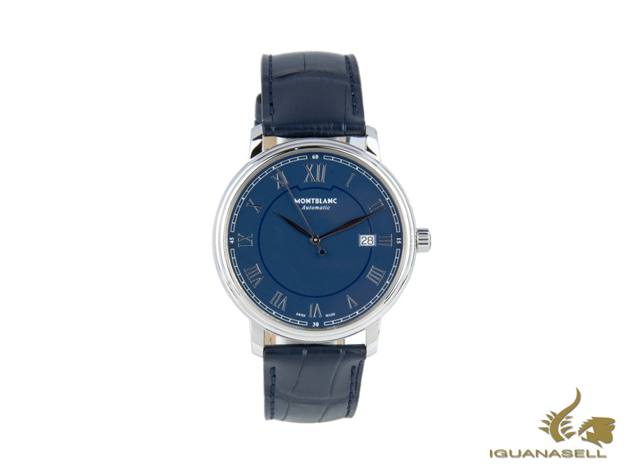 Montblanc Tradition Automatic Watch, MB 24.17, Blue, 40 mm, Cayman Band, 117829 Montblanc Automatic Watch
