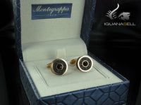 Montegrappa Classic Leather Cufflinks, Ion Plating Rose Gold, Leather, IDOMCLRL