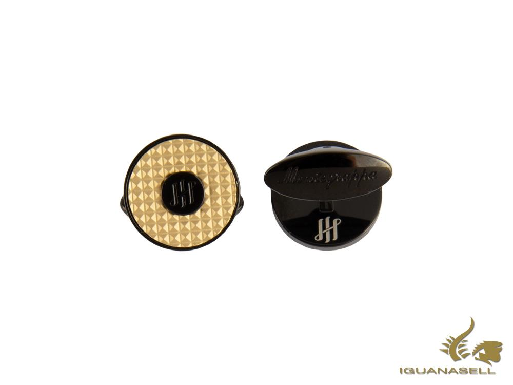 Montegrappa Clou Ambigram Cufflinks, Steel, IP Black & IP Yellow Gold, IDA3CLBY