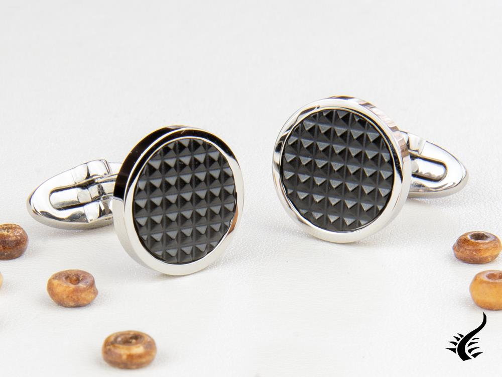 Montegrappa Clou Cufflinks, Stainless steel. IP Black, IDCPCLSB