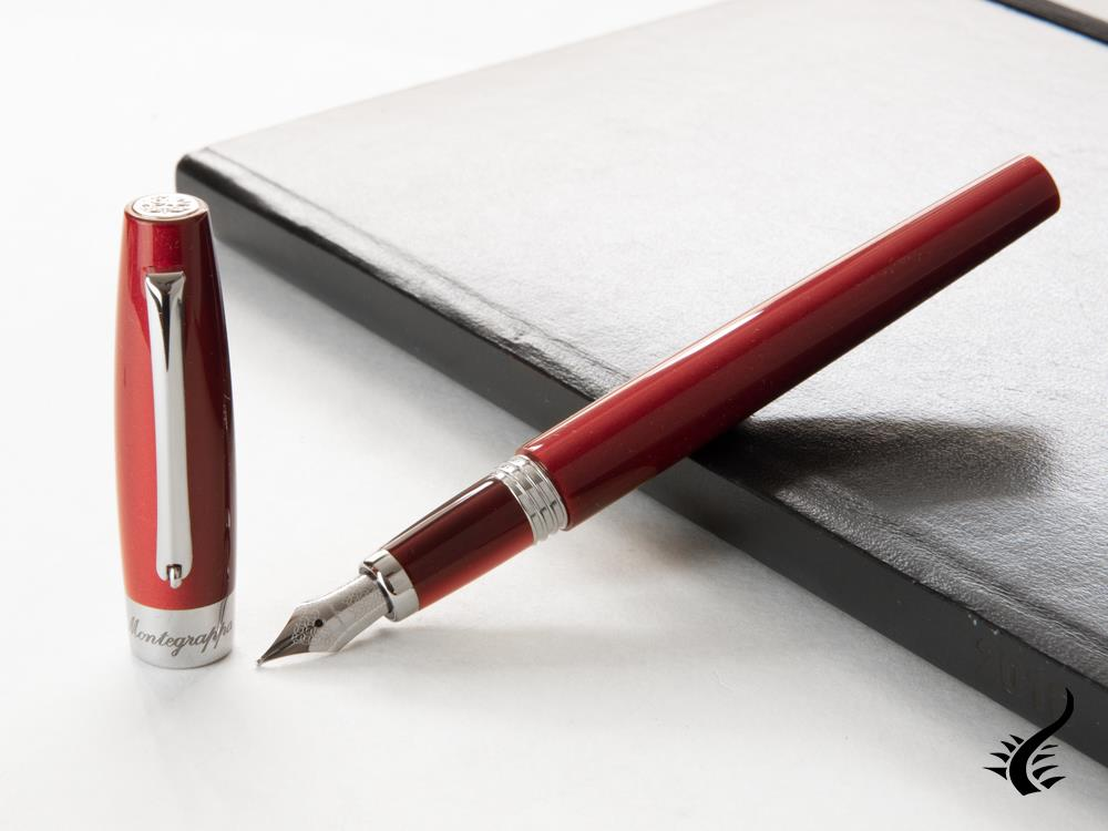 Montegrappa Felicità Red Velvet Fountain Pen, Mother of Pearl Resin