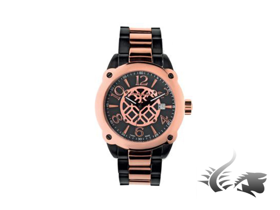 Montegrappa Filigree Quartz watch, Stainless steel - PVD rose gold coated, 44mm.