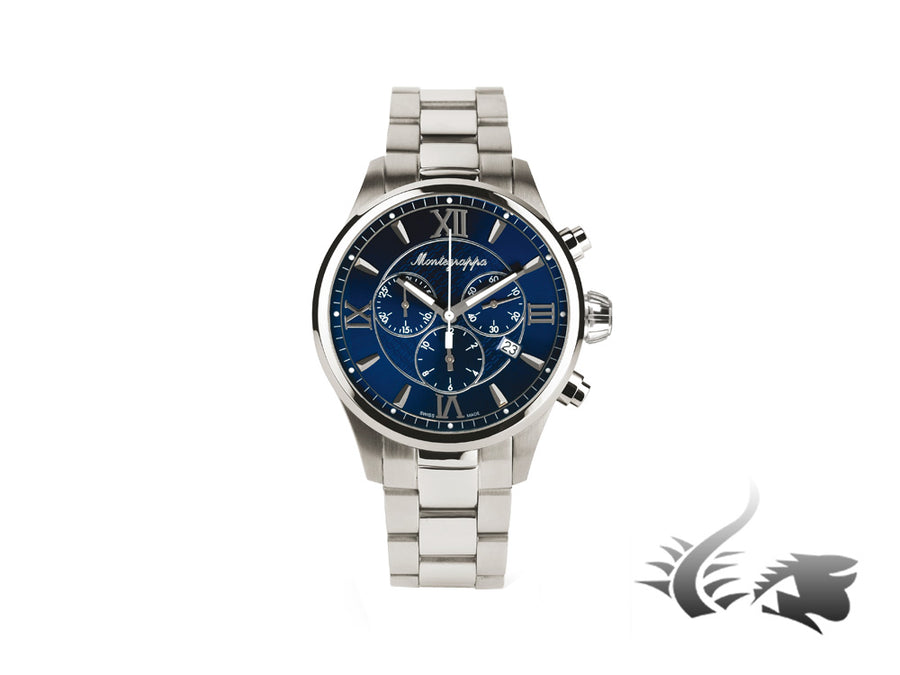 Montegrappa Fortuna Chronograph Quartz watch, Blue, 42mm. IDFOWCID