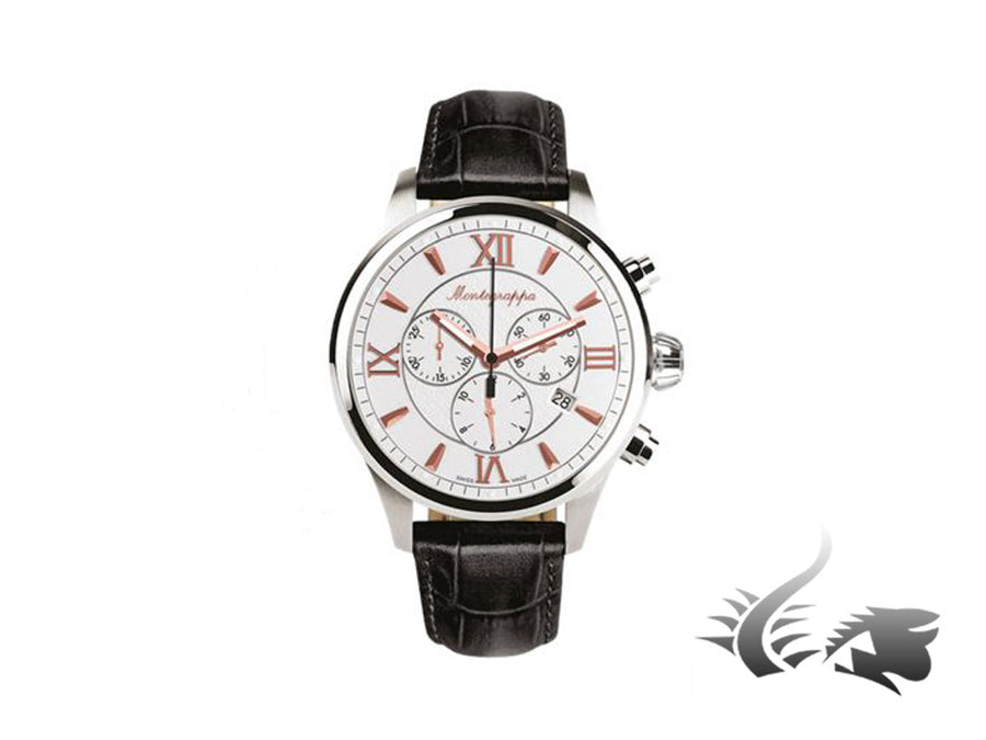 Montegrappa Fortuna Chronograph Quartz watch, Silver, 42mm. IDFOWCLR