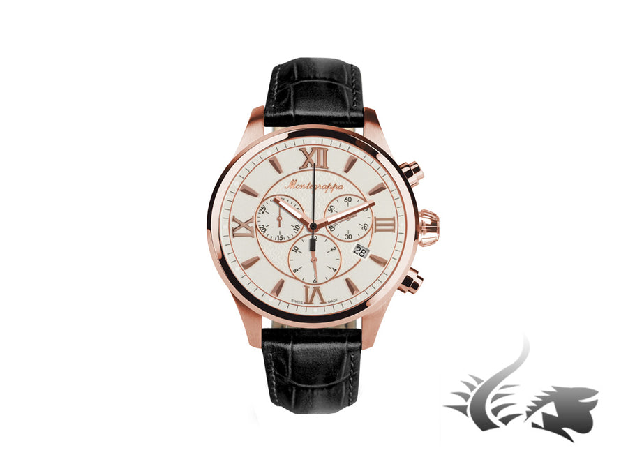 Montegrappa Fortuna Chronograph Quartz watch, PVD Rose Gold, White, 42mm. Montegrappa Quartz Watch