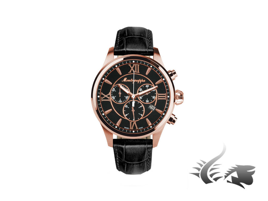 Montegrappa Fortuna Chronograph Quartz watch, Black, 42mm., PVD rose gold