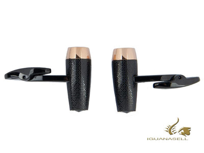Montegrappa Fortuna Cufflinks, Ion Plating Black, Ion Plating Rose Gol Montegrappa Cufflinks