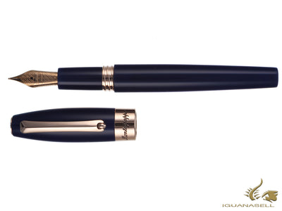 Montegrappa Fortuna Fountain Pen, Blue Resin Rose gold trim, ISFOR-RD