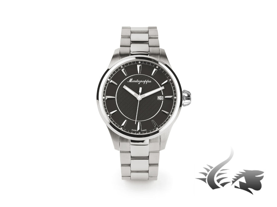 Montegrappa Fortuna Three Hands Quartz watch, Black, 42mm. IDFOWAIC Montegrappa Quartz Watch