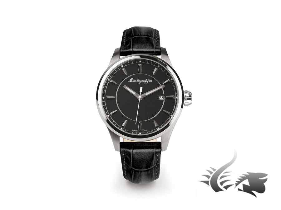 Montegrappa Fortuna Three Hands Quartz watch, Black, 42mm. IDFOWALC Montegrappa Quartz Watch