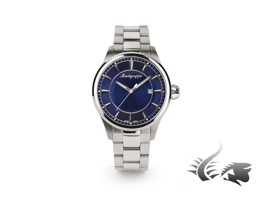 Montegrappa Fortuna Three Hands Quartz watch, Blue, 42mm. IDFOWAID