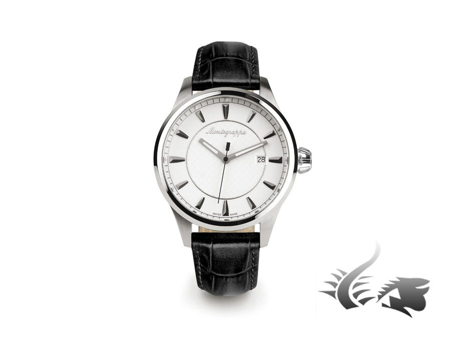 Montegrappa Fortuna Three Hands Quartz watch, Silver, 42mm. IDFOWALJ Montegrappa Quartz Watch