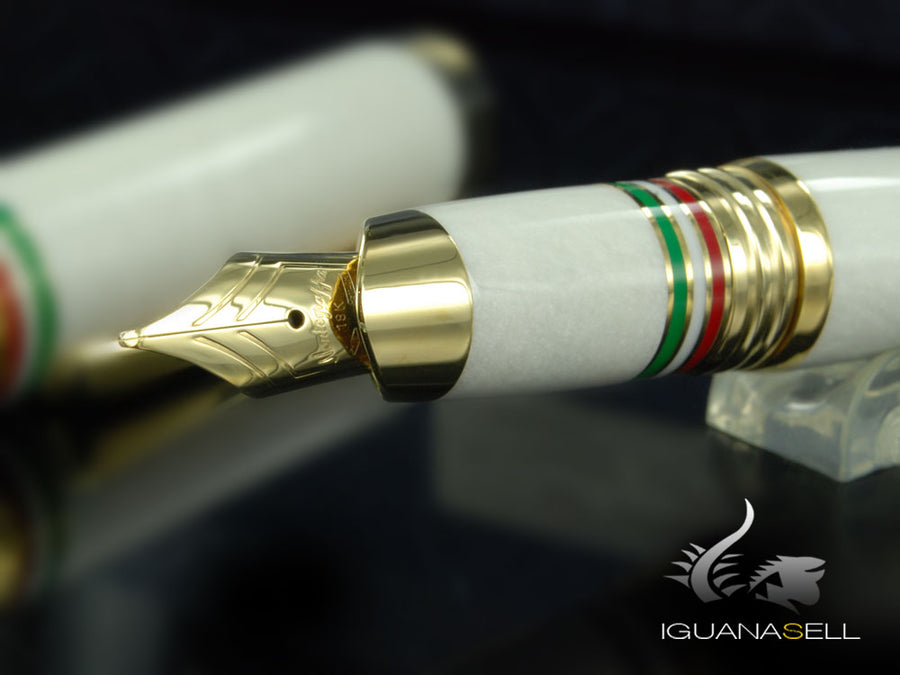 Montegrappa Italia Fountain Pen, Italia, Resin, White, Gold trim