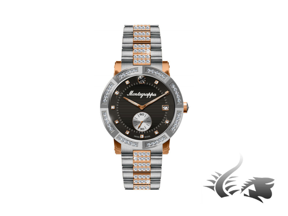 Montegrappa Nero Uno Ladies Quartz watch, Diamonds, Rose Gold PVD, IDLNWA82