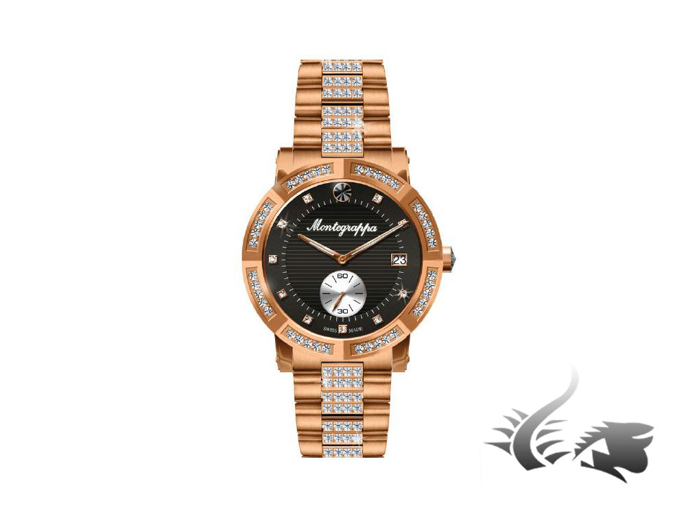 Montegrappa Nero Uno Ladies Quartz watch, Rose Gold PVD, Diamonds, IDLNWA74