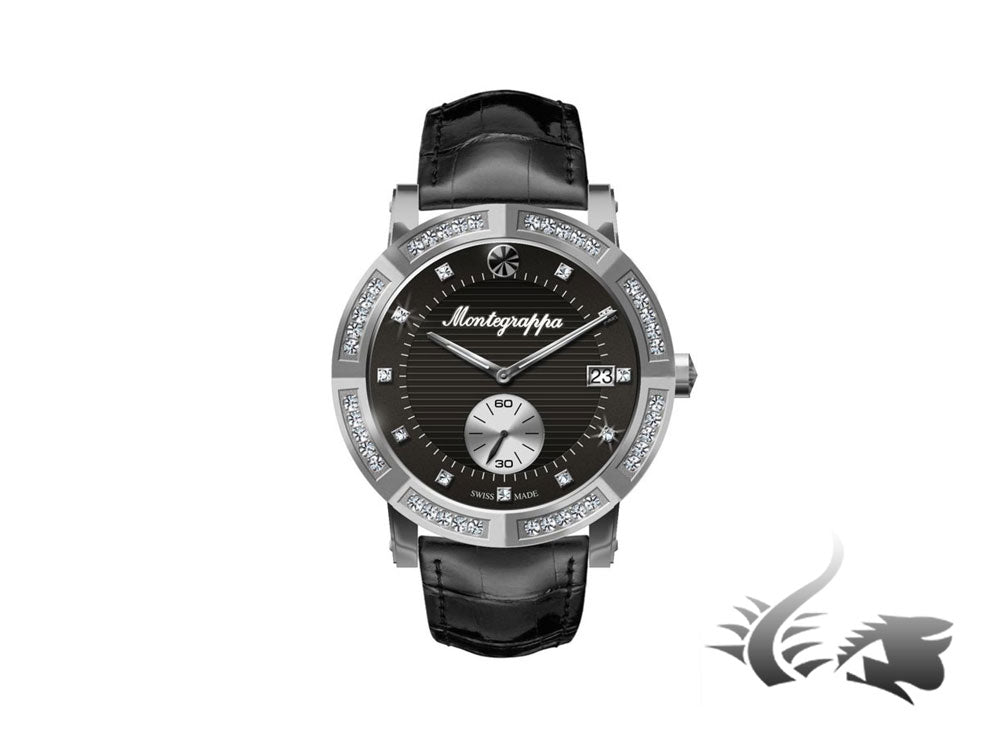 Montegrappa Nero Uno Ladies Quartz watch, Diamonds, Black, 36mm, IDLNWA61