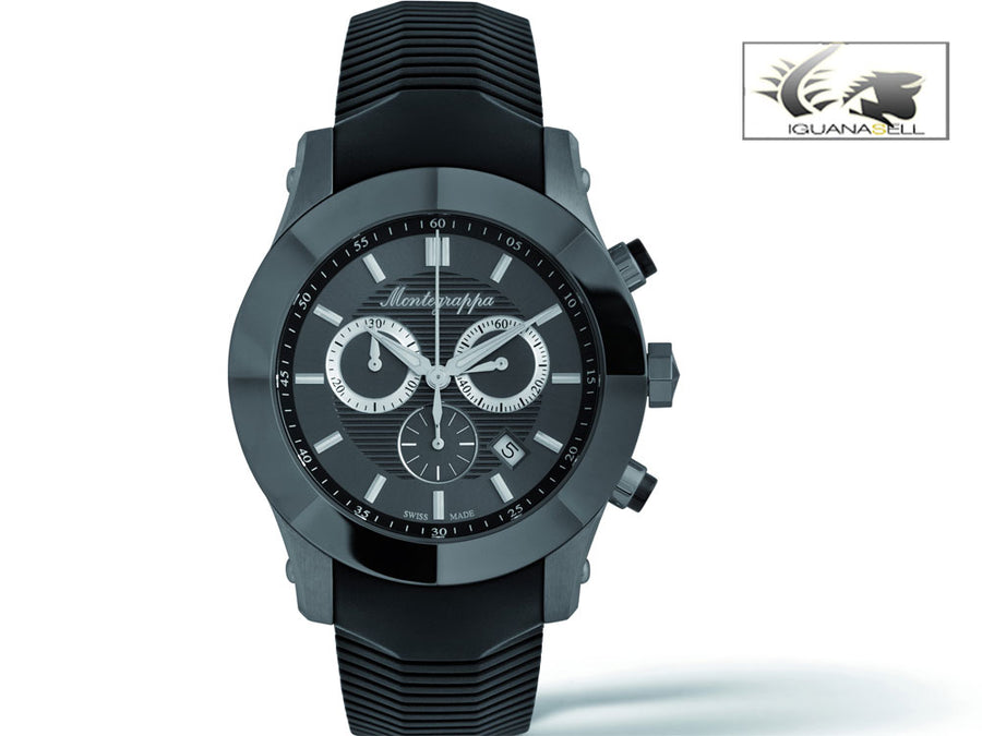 Montegrappa Nero Uno Watch Black - Chronograph Ronda 5030.D- IDNLWA00 Montegrappa Quartz Watch