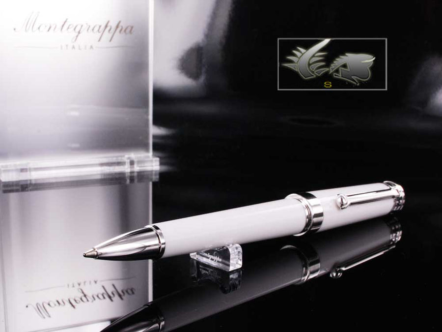 Montegrappa Parola Ballpoint pen, White resin, Chrome trim, ISWOTBAW