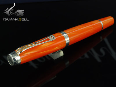 Montegrappa Passione Orange Fountain Pen, Celluloid, .925 silver trim
