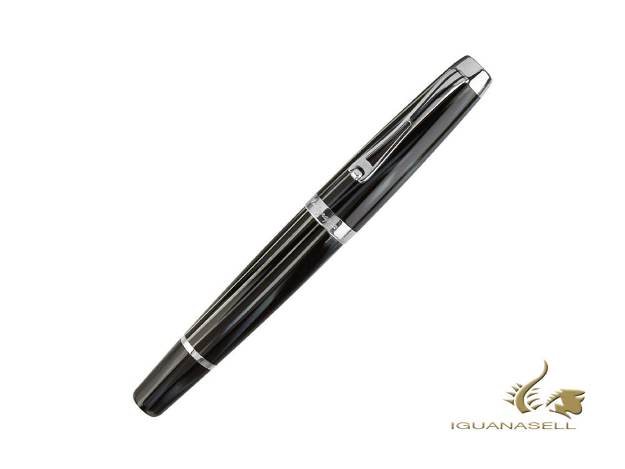 Montegrappa Passione Zebra Fountain Pen, Celluloid, .925 Silver Trim