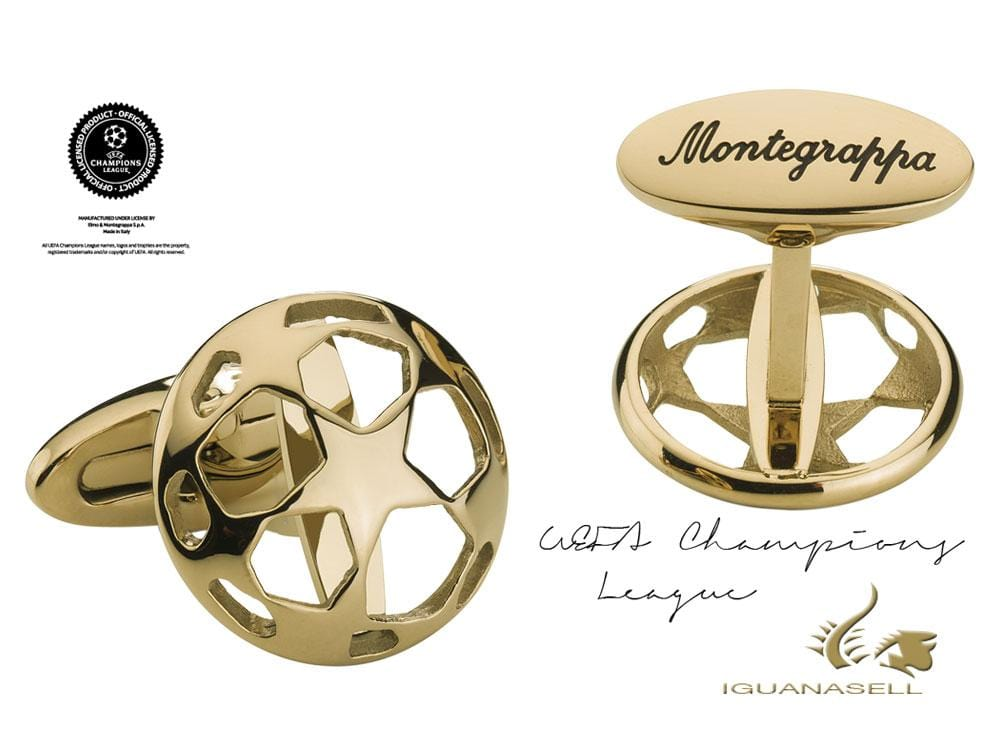 Montegrappa UEFA Champions league Cufflinks, Gold IP, IDUCCLIY, Cufflinks
