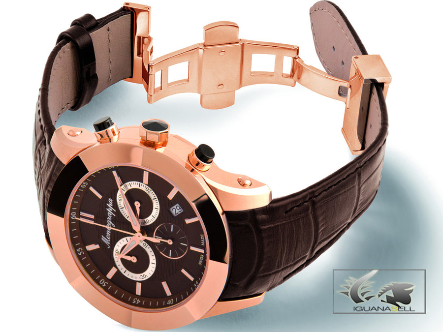 Montegrappa Watch Nero Uno Chronograph - Ronda 5030.D - Pink Gold Montegrappa Quartz Watch