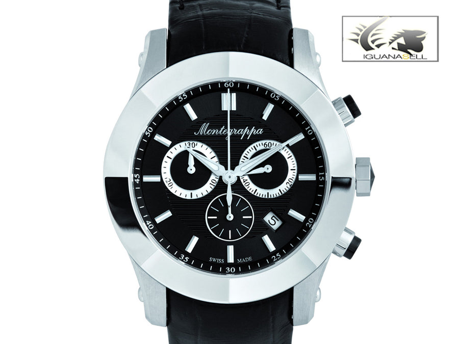 Montegrappa Watch Nero Uno Chronograph Ronda 5030.D - Stainless Steel Montegrappa Quartz Watch