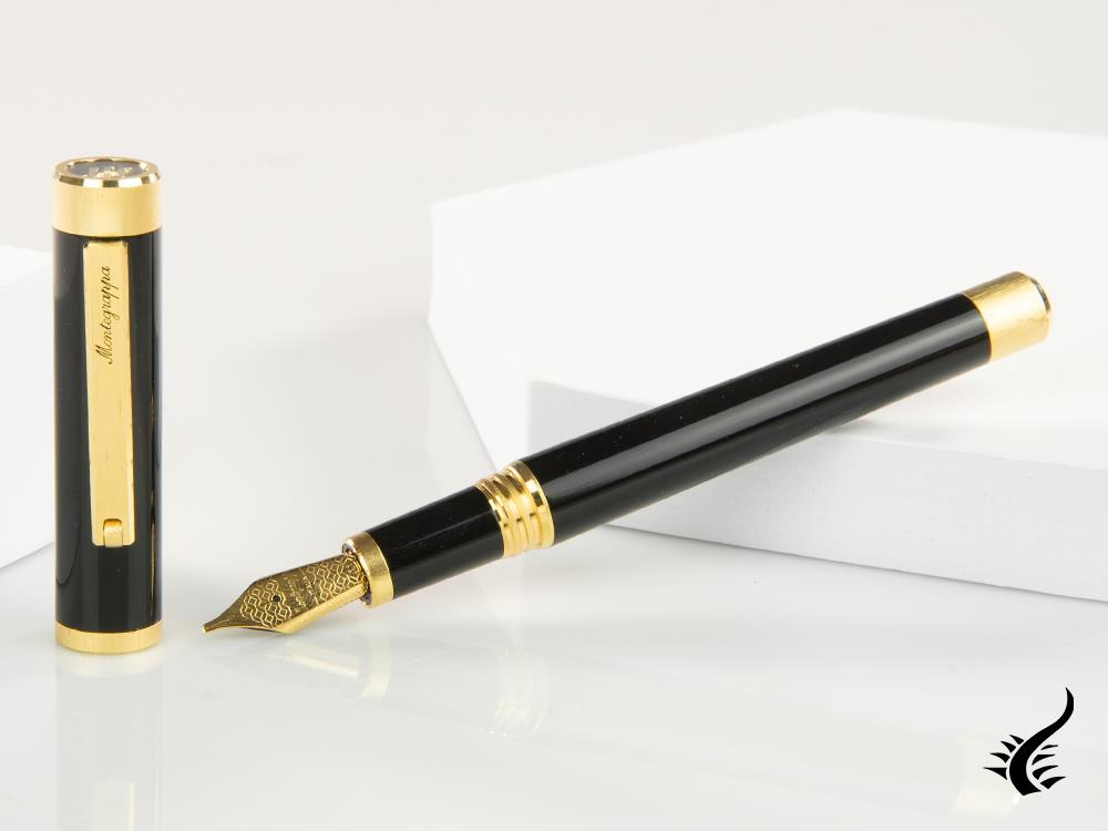 Montegrappa Zero Fountain Pen, Black Resin, Yellow gold trims, ISZET-BY