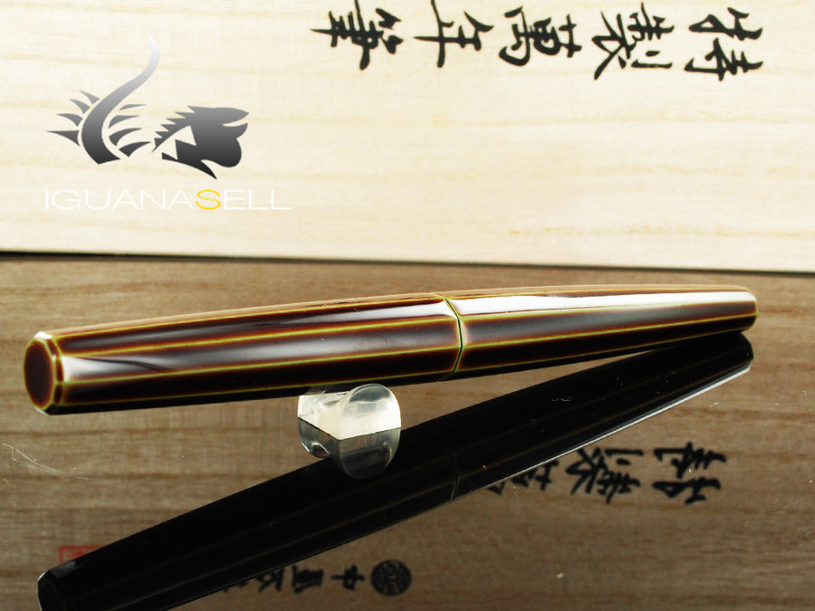 Nakaya Cigar Long Portable Heki Tamenuri Fountain Pen, Decapod, Ebonite
