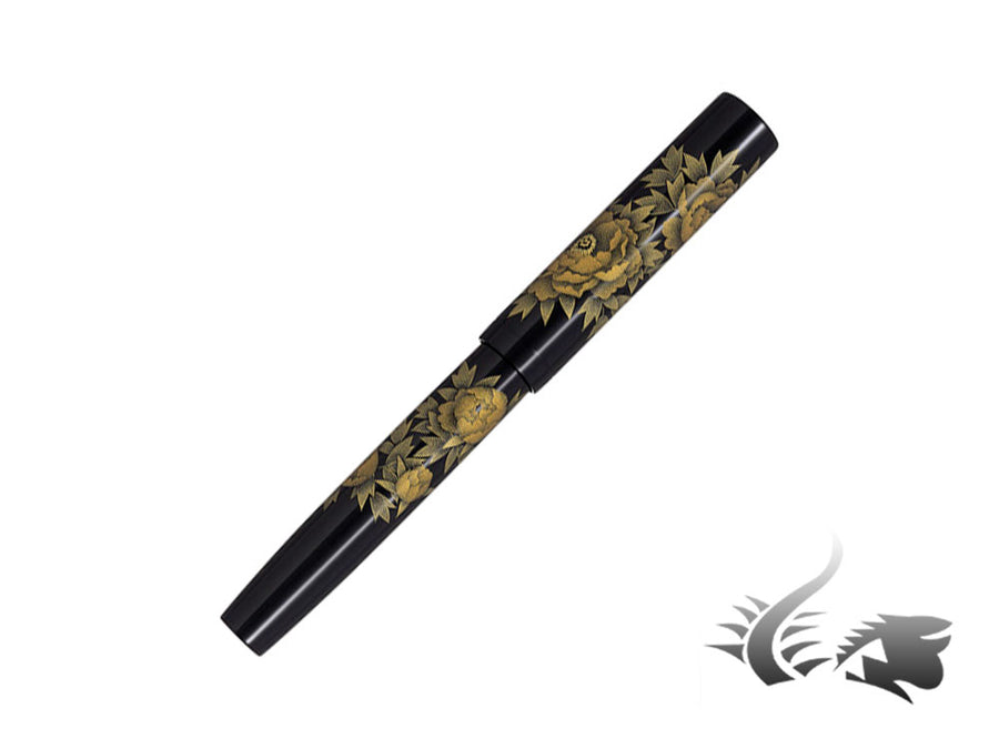 Namiki Chinkin Peony Fountain Pen, Urushi lacquer, Gold trim, Chinkin