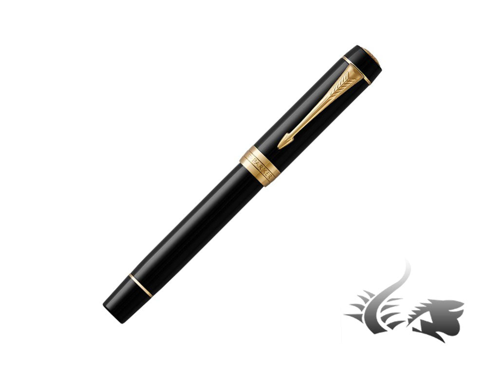 Parker Duofold Rollerball Pen, Black, Precious Resine, Gold Trim, 1931385