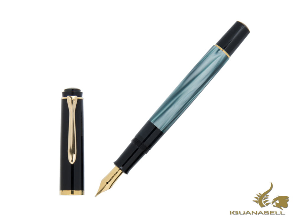 Pelikan M200 Fountain Pen Green Marbled, 24k Gold trim, 994103