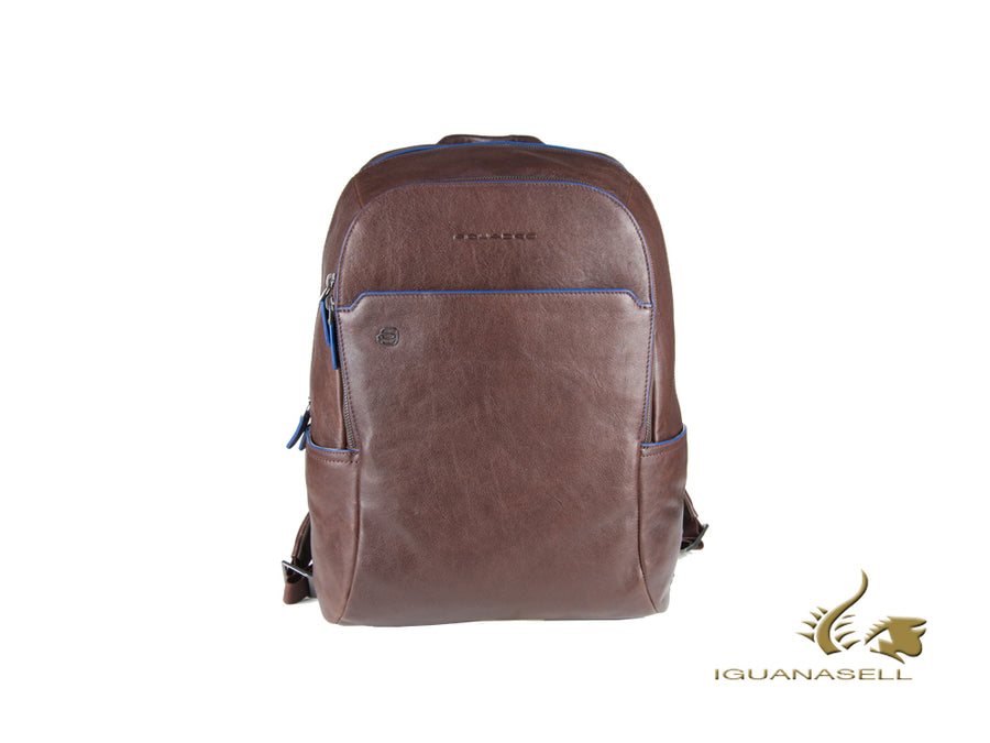 Piquadro Blue Square Backpack, Leather, Brown, 2, Zip, CA3214B2S/TM Piquadro Backpack