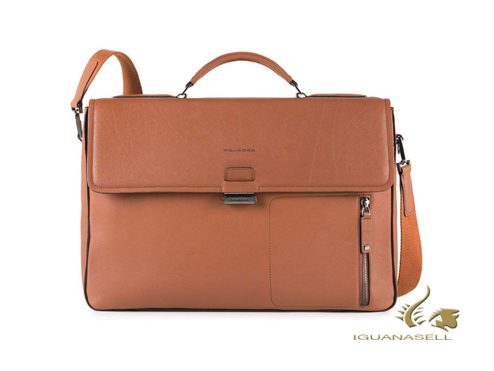 Piquadro David Briefcase, Leather, Brown, Flap tuck, Laptop, CA4419W86/CU